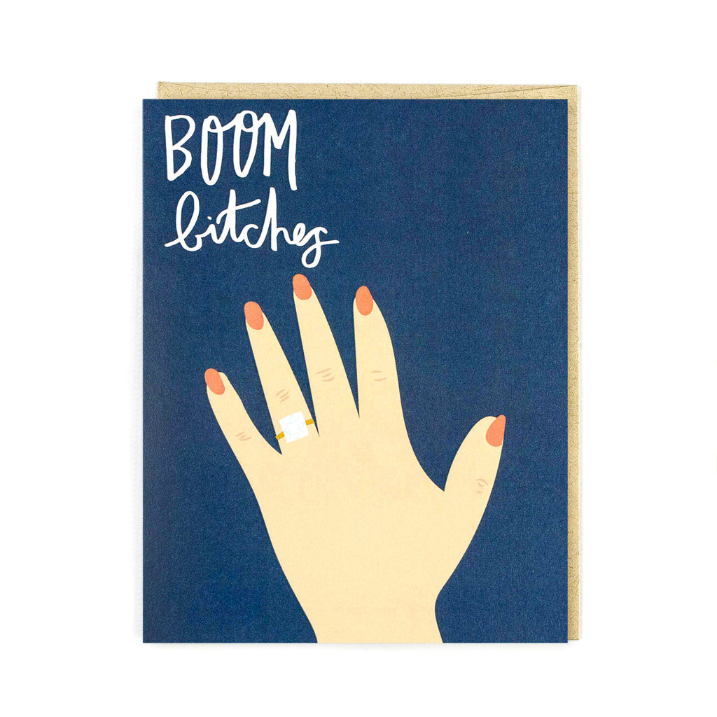 Boom Bitches Wedding Ring Card