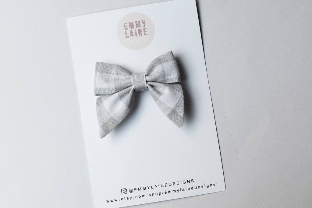 Linen Gingham Mini Sailor Bow with Clip