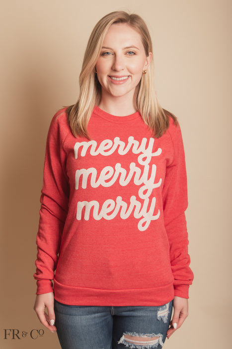 Merry Merry Merry Sweatshirt - Red