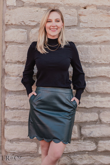 Hunter Green Vegan Scalloped Skirt