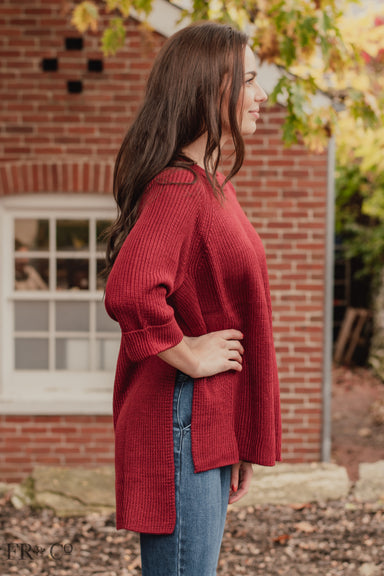 High Low Sweater - Burgundy