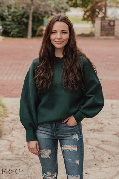 Solid Polk Sweater with Balloon Sleeves - Hunter Green