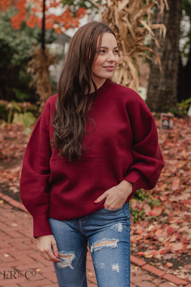 Solid Polk Sweater with Balloon Sleeves - Wine