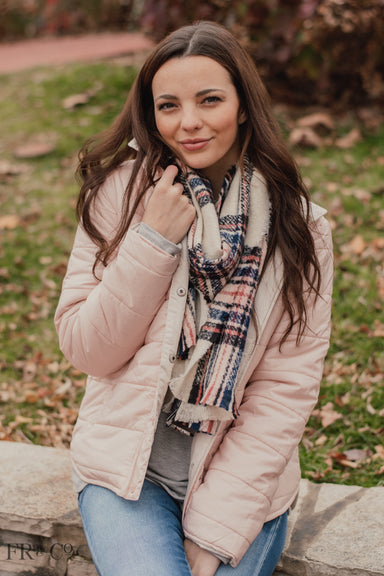 Plaid Oblong Scarf - Ivory
