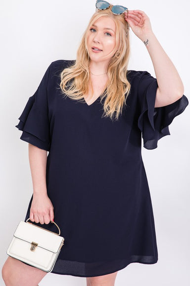 Navy Tiered Bell Sleeve Dress - Plus Size