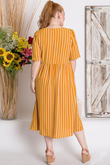 Mustard Striped Button Down Midi V-Neck Dress - Plus Size