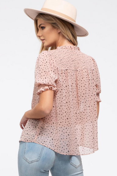 Speckled Dot Tie-Neck Top