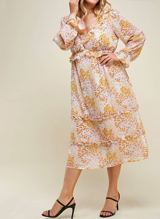 Floral Sheer Sleeve Ruffle Midi Dress - Plus Size