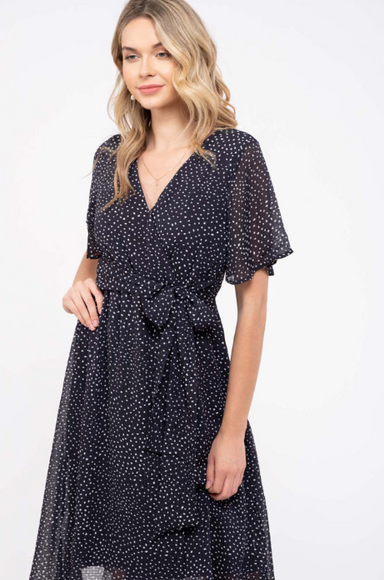 Navy Wrap Midi High Low