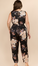 Satin Oriental Floral V Neck Jumpsuit - Plus Size