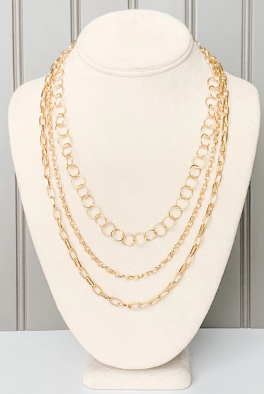 Gold Triple Layer Chain Necklace