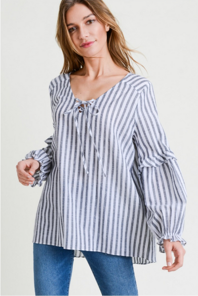 Striped Blouse with Ruffle Sleeve