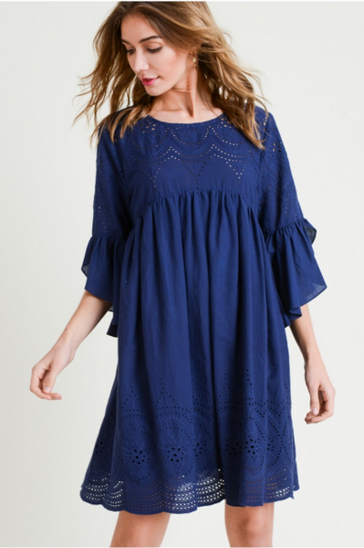 Voile Eyelet Dress with Ruffle Detail Sleeve