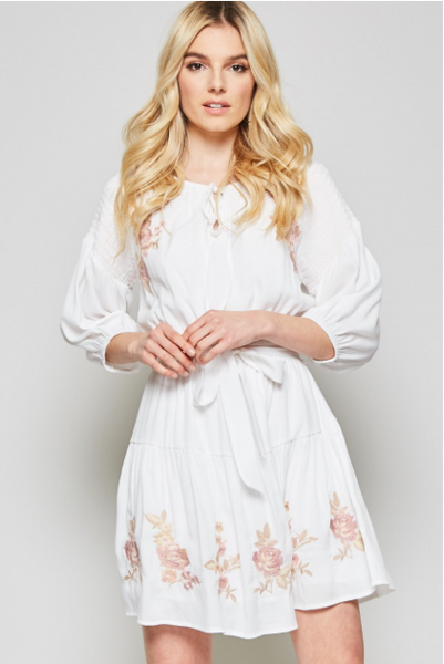 Casual White Dress with Embroidered Detail