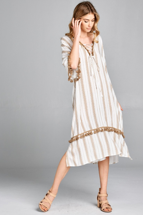 258ae54a0e Taupe Stripe with Pom Pom Kimono Dress – FR & Company