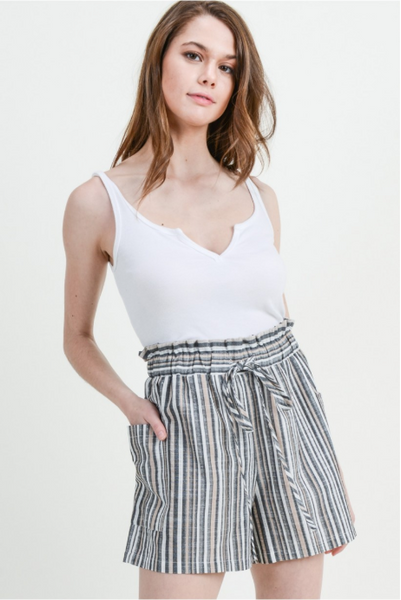 Striped Short Pant Featuring Side Pocket