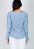 Dusty Blue Pinstripe Button Down Top