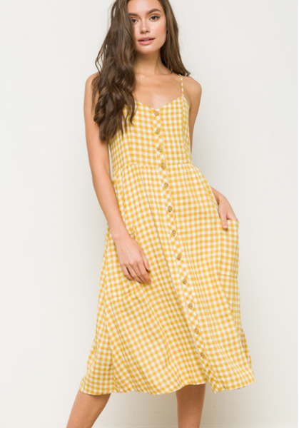 Mustard Checked Button Down Strap Dress