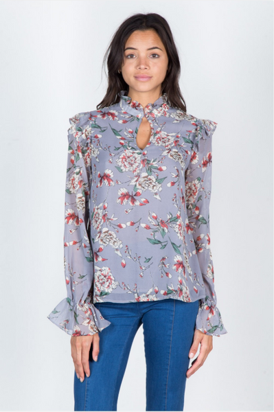 Grey Rustic Floral Top
