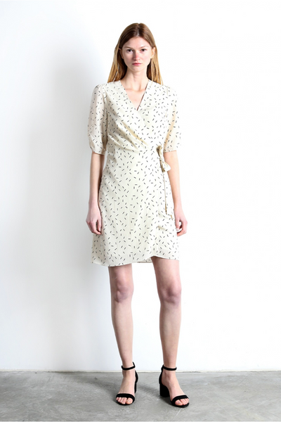 The Walt Egg Shell Wrap Dress