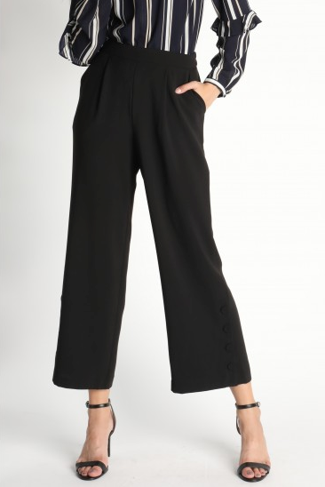 Pleats Wide Pants with Side Button Up Detail