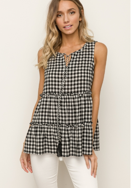 Tiered Sleeveless Top With Tassel Tie