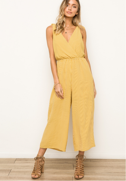 Mustard Cross Front and Back Jumpsuit With Tie Back