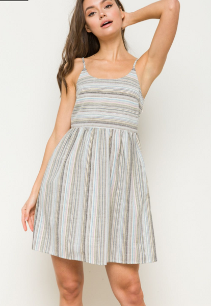 Lace Up Back Stripe Dress