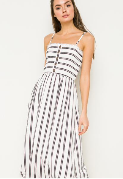 Stripe Midi Strap Dress