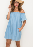 Ruffle Sleeve Off The Shoulder Dress