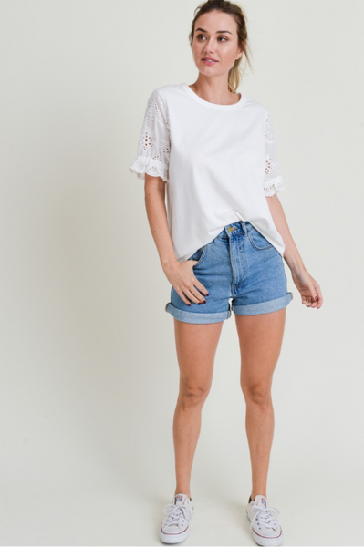Cotton Jersey Round Neck Top w/ Eyelet Lace Sleeve