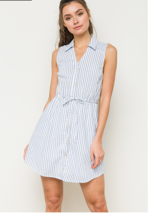 Blue and White Stripe Front Tie Dress
