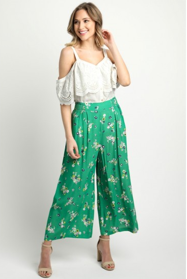 Green Ankle Pants with Floral Detail