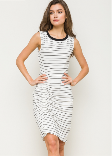 Ruched stripe Sleeveless Midi Dress