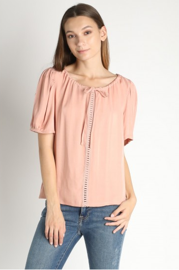 Peach Blouse with Lace Contrast and Tie Detail