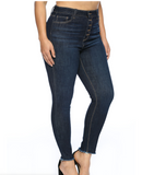 High Rise Button Fly Dark Wash Skinny Jean - Plus Size