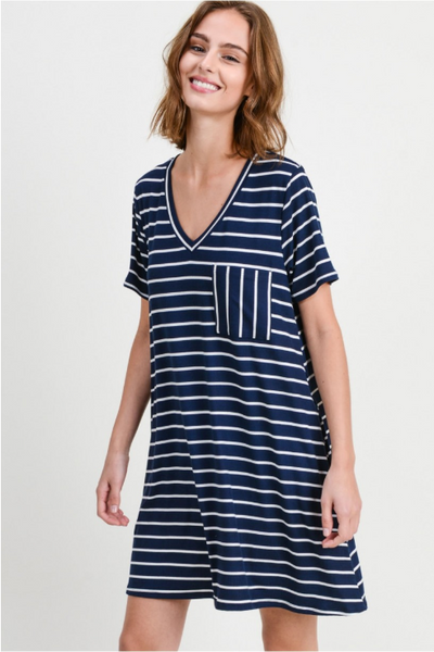 Navy Striped V-Neck T-Shirt Dress