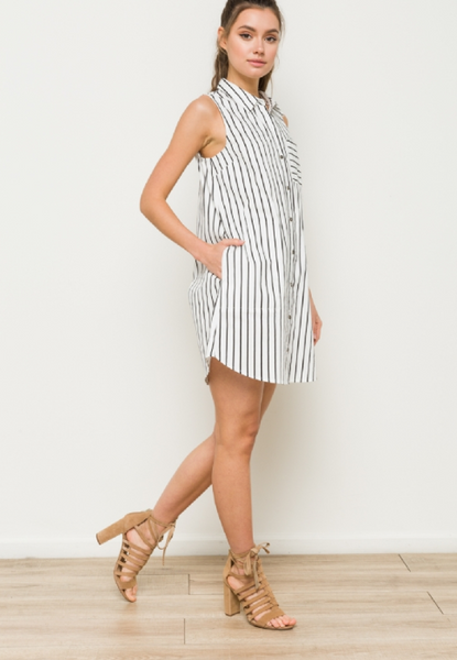 Striped Sleeveless Button Down Collared Dress