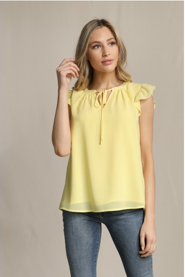Yellow Ruffle Sleeve Blouse with Tie Neck Detail