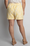 Yellow Floral Printed Shorts - Plus Size