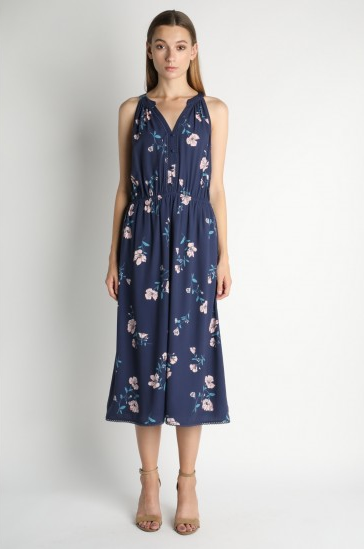 Navy Floral Printed Maxi Dress with Lace Detail