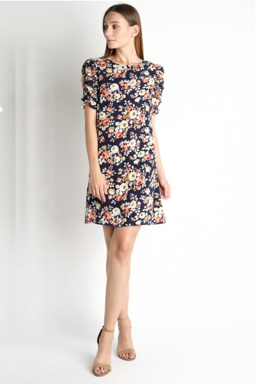 Navy Floral Shirring Sleeve Dress