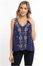 Navy Embroidered Flare Tank