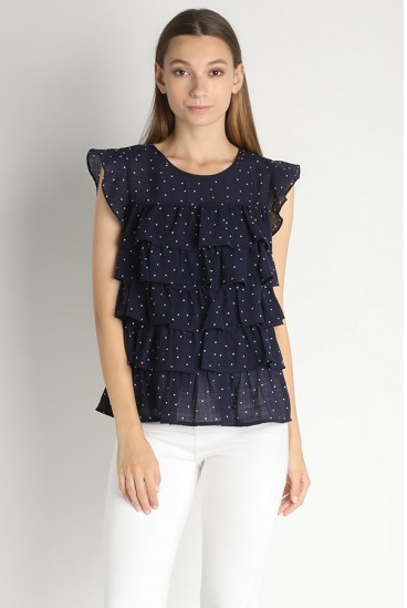 Navy Polka Dot Layered Ruffle Sleeveless Blouse