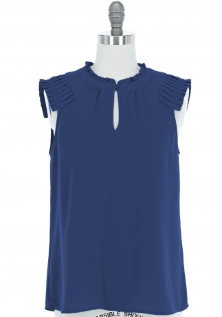 Navy Sleeveless Pin Tucked Shoulder Blouse with Ruffle Neck Top