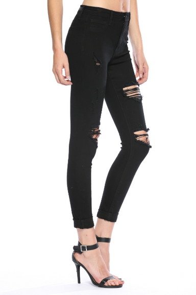 High Rise Double Roll Black Wash Cuff Skinny