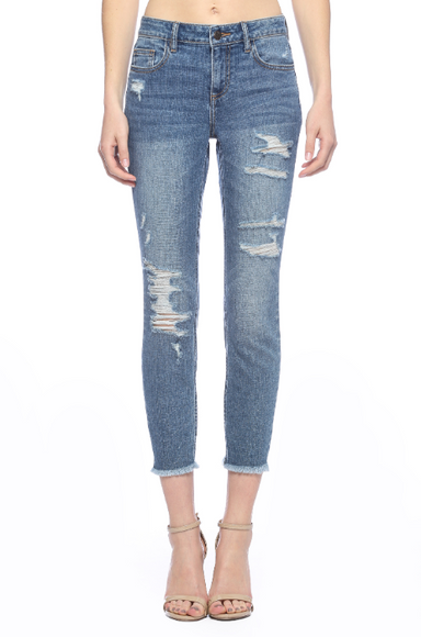 Mid- Rise Distress Straight Cut Crop Skinny- Medium Wash