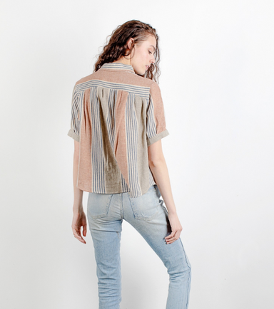 Sage and Rust Striped Short Sleeve Blouse