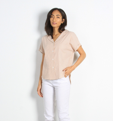 Camel Button Up Short Sleeve Blouse