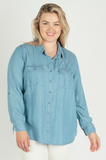 Chambray Button Up Blouse - Plus Size